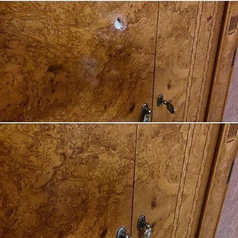 Выстрел в дверцу шкафа из пистолета