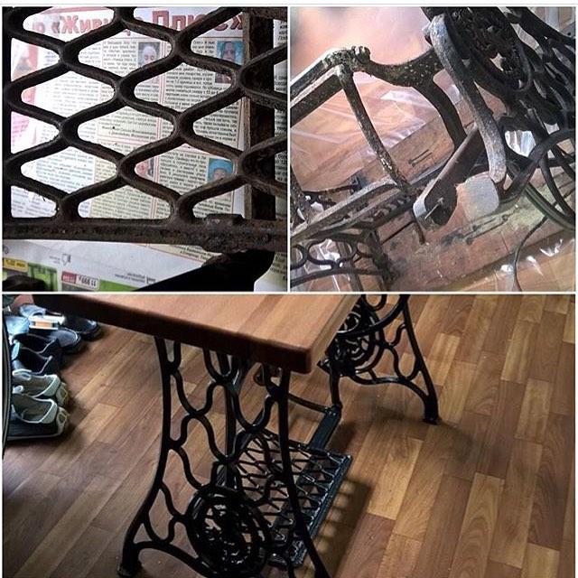 Из старой швейной машинки Singer сделали для клиента столик для дачи. Старая семейная реликвия продолжает жизнь в новом качестве.