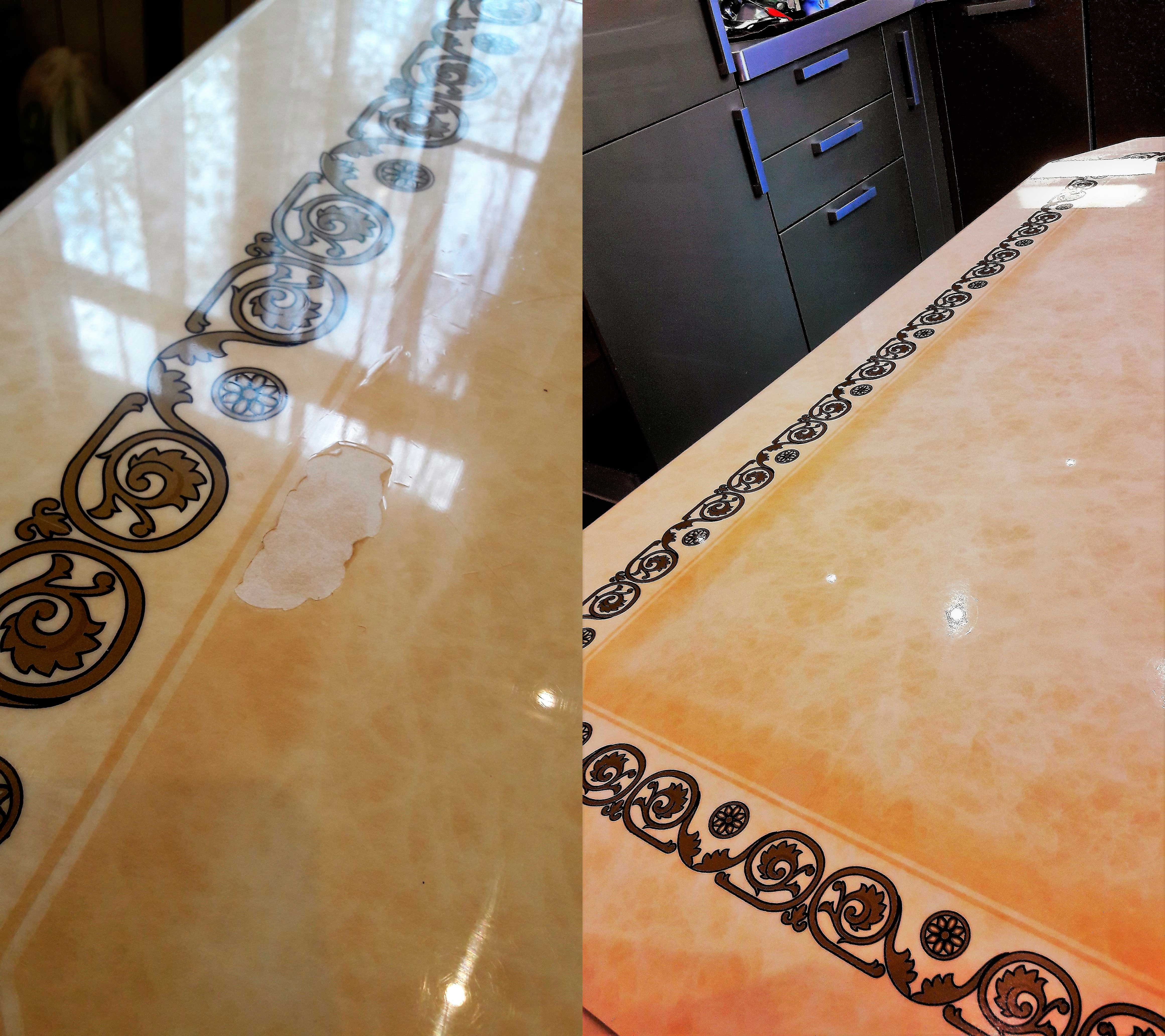 Реставрация пленки пвх стола