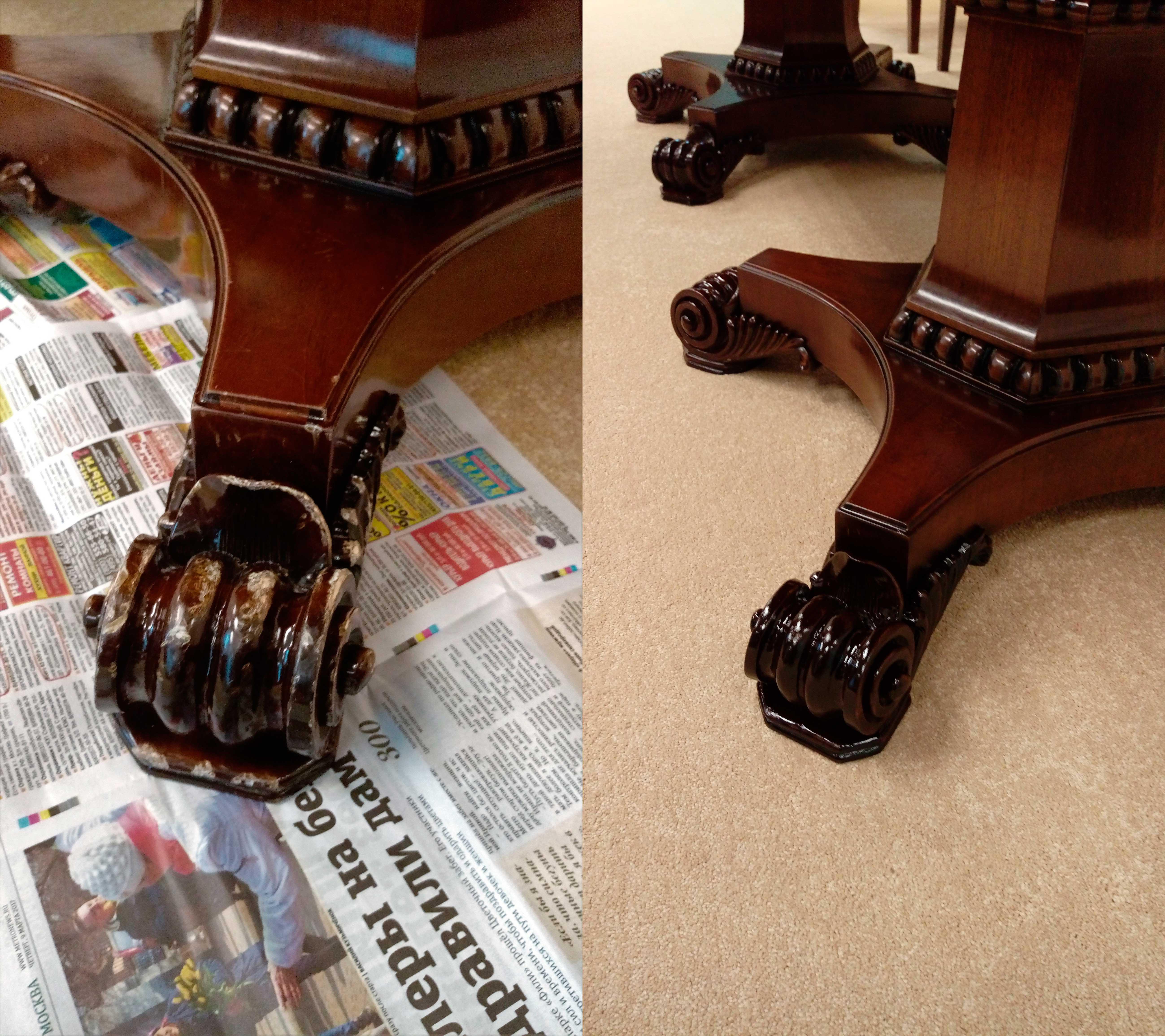 Реставрация ножки стола