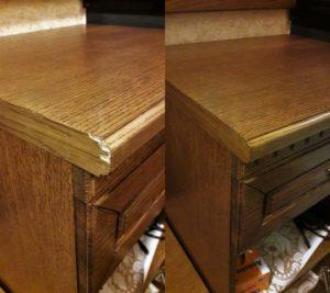 Реставрация кромки письменного стола