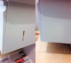 Реставрация стенки шкафчика ванной комнаты