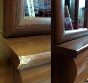 Реставрация книжного шкафа после питомца