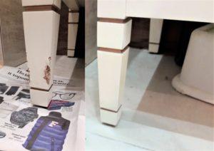Реставрация вмятины на ножке тумбы