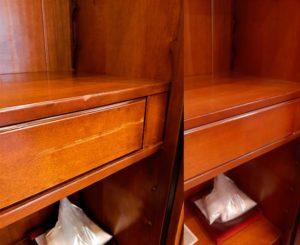 Реставрация царапины и выбоины на ящике комода