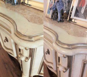 реставрация скола на кромке столешницы комода