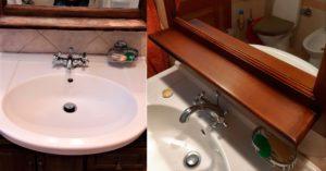 Реставрация полки в ванной комнате