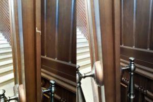 Реставрация выбоины и царапин на косяке двери