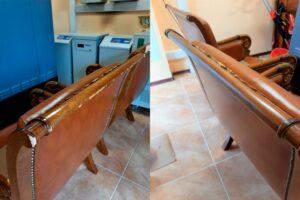 Реставрация потертостей на спинке дивана