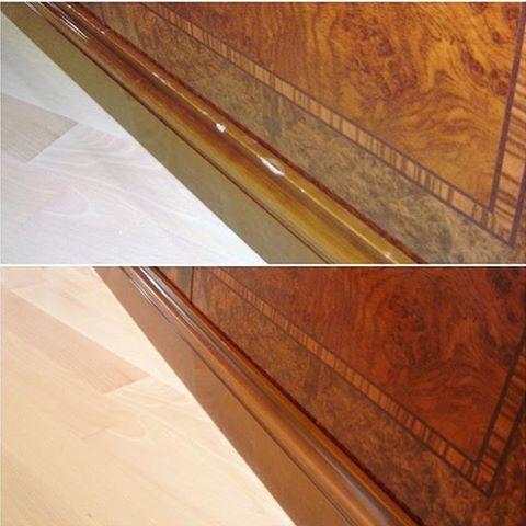 Реставрация сколов на цоколе комода