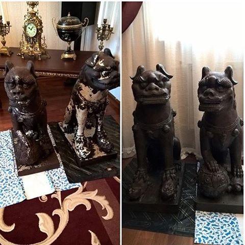 Реставрация садового льва-собаки