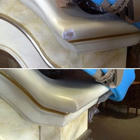 Реставрация угла мраморной кровати