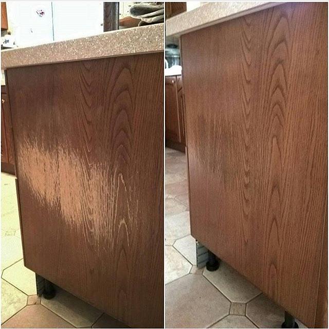 Эконом реставрация сильно исцарапанного кухонного комода