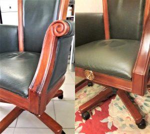 Исправление некачественной реставрация подлокотника кресла